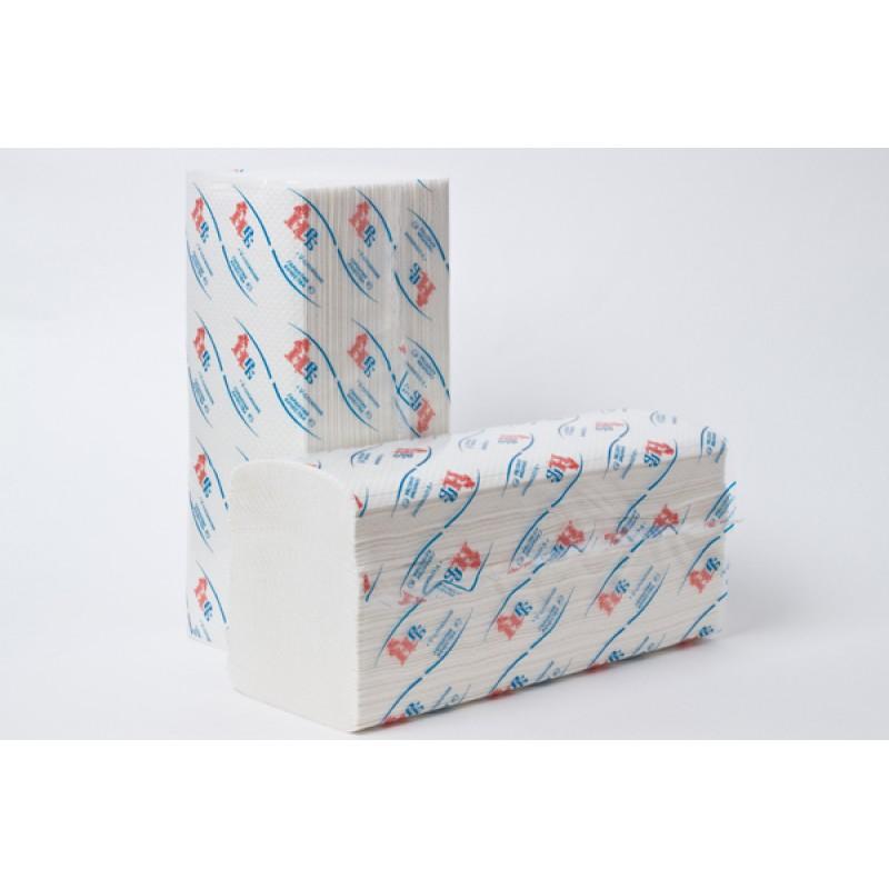 Бумажные полотенца 1 слойные белые V-сложения